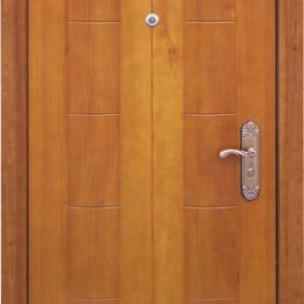 Ocelové dveře GM-002 vchodové ocelové dveře se dřevem, stavební otvor 205x96cm